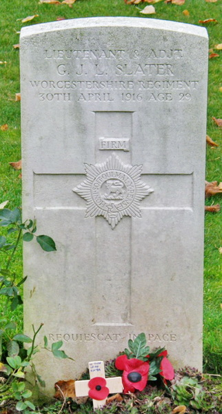 Lt Slater is buried at Hebuterne Military Cemetery